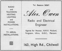 Alex Owen 1952 advert