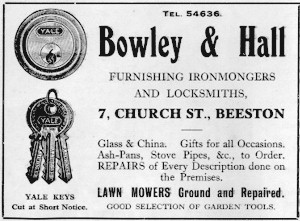 Bowley & Hall advert